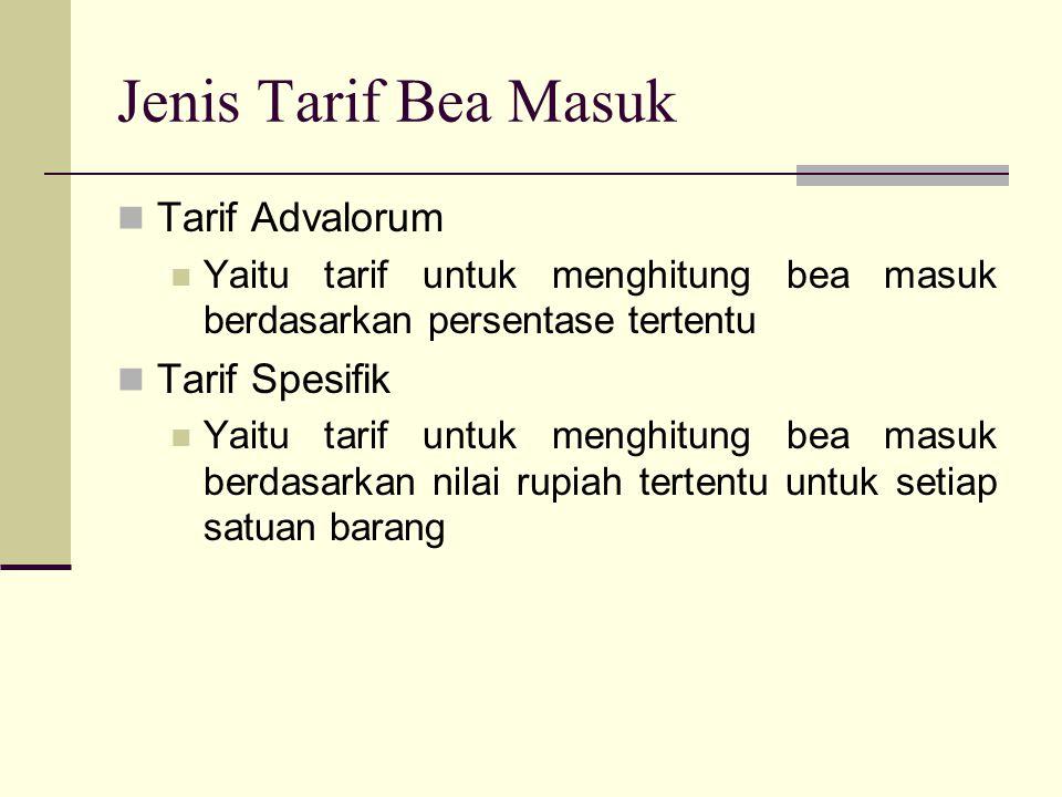 Jenis Tarif Bea Masuk  Tarif Advalorum  Yaitu tarif untuk menghitung bea masuk berdasarkan persentase tertentu  Tarif Spesifik  Yaitu tarif untuk