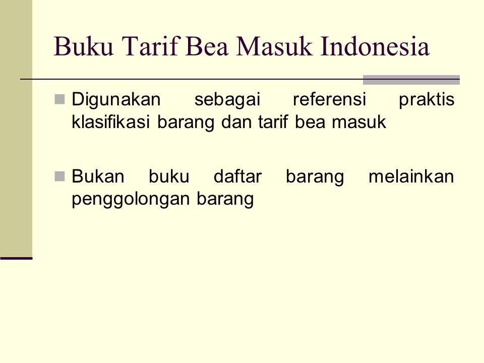 Buku Tarif Bea Masuk Indonesia  Digunakan sebagai referensi praktis klasifikasi barang dan tarif bea masuk  Bukan buku daftar barang melainkan pengg
