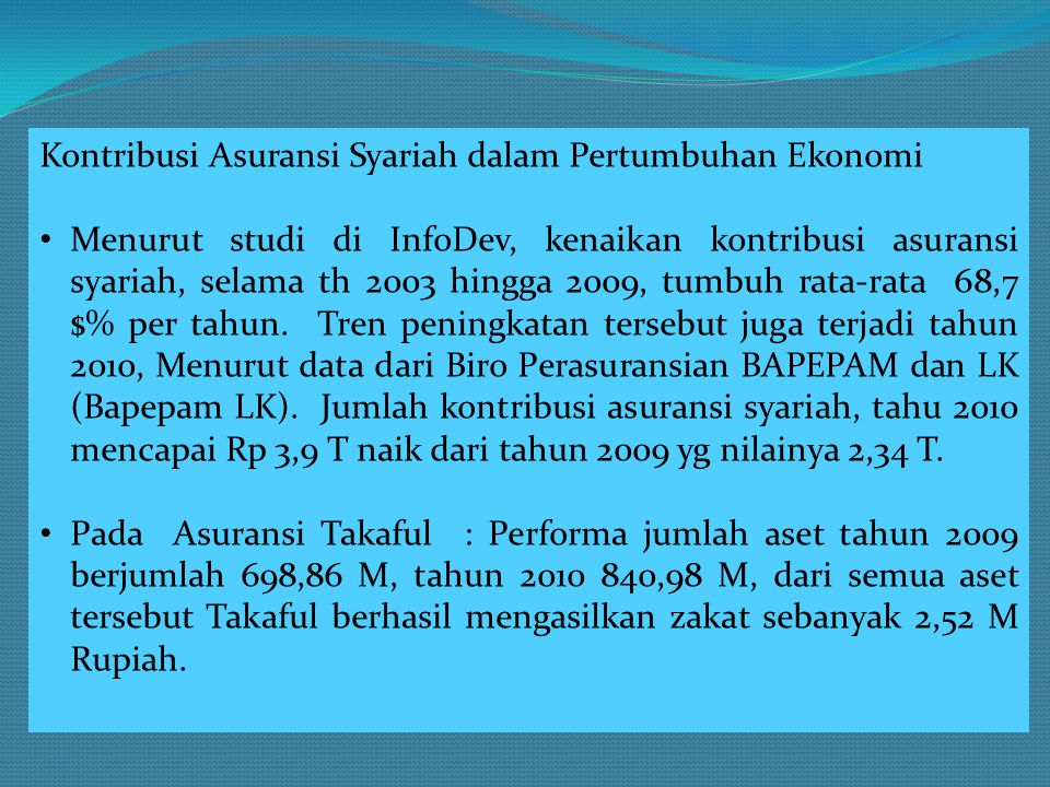 Kontribusi Asuransi Syariah dalam Pertumbuhan Ekonomi • Menurut studi di InfoDev, kenaikan kontribusi asuransi syariah, selama th 2003 hingga 2009, tu