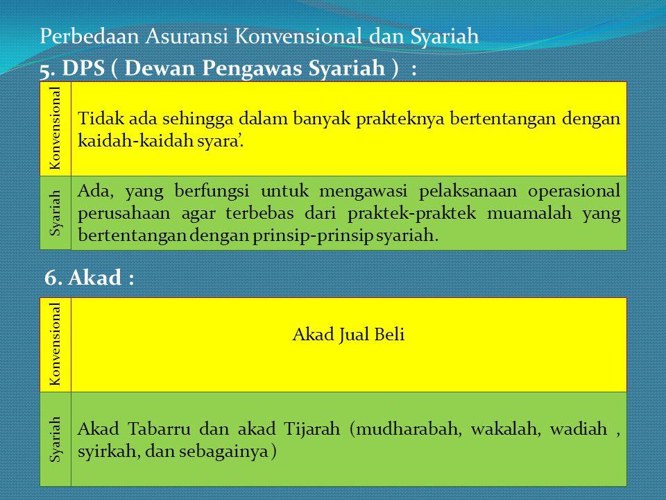 Perbedaan Asuransi Konvensional dan Syariah 5. DPS ( Dewan Pengawas Syariah ) : Tidak ada sehingga dalam banyak prakteknya bertentangan dengan kaidah-