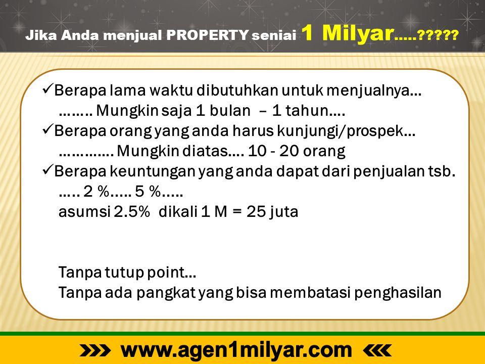 Jika Anda menjual PROPERTY seniai 1 Milyar …..?????  Berapa lama waktu dibutuhkan untuk menjualnya… …….. Mungkin saja 1 bulan – 1 tahun….  Berapa or