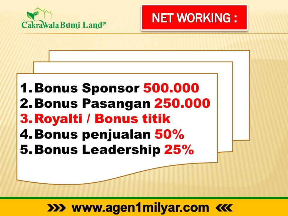 1.Bonus Sponsor 500.000 2.Bonus Pasangan 250.000 3.Royalti / Bonus titik 4.Bonus penjualan 50% 5.Bonus Leadership 25%