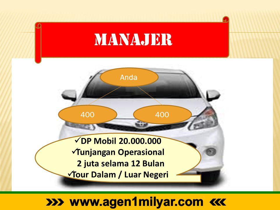 manajer Anda 400  DP Mobil 20.000.000  Tunjangan Operasional 2 juta selama 12 Bulan  Tour Dalam / Luar Negeri