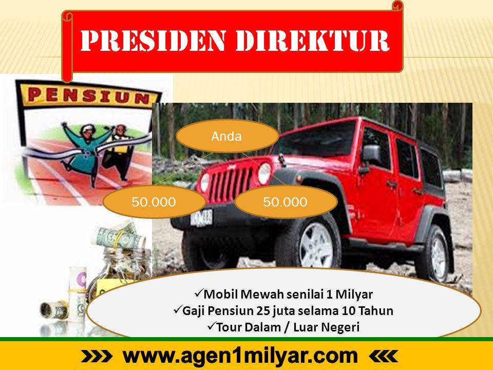 Presiden direktur Anda 50.000  Mobil Mewah senilai 1 Milyar  Gaji Pensiun 25 juta selama 10 Tahun  Tour Dalam / Luar Negeri