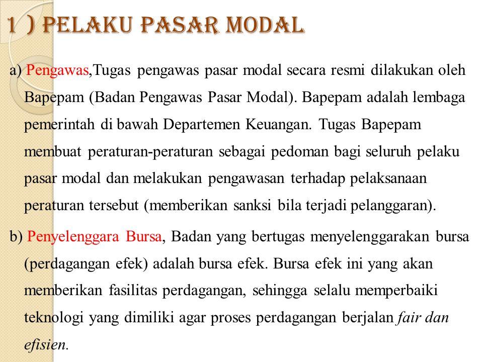 1 ) Pelaku Pasar Modal a) Pengawas,Tugas pengawas pasar modal secara resmi dilakukan oleh Bapepam (Badan Pengawas Pasar Modal).