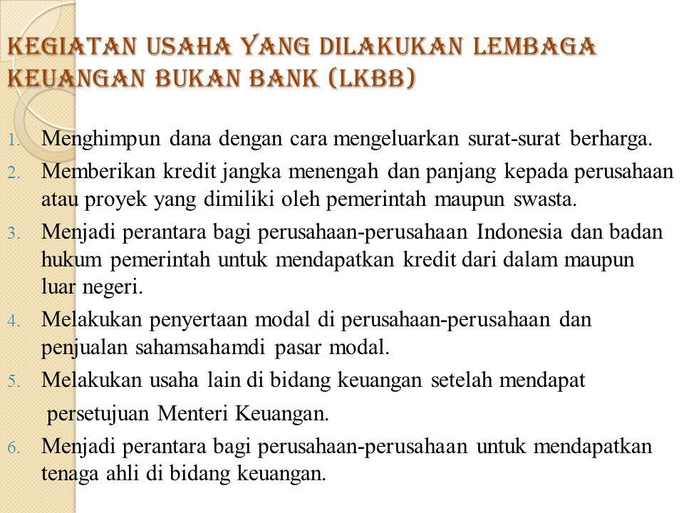 Kegiatan usaha yang dilakukan Lembaga Keuangan Bukan Bank (LKBB) 1.