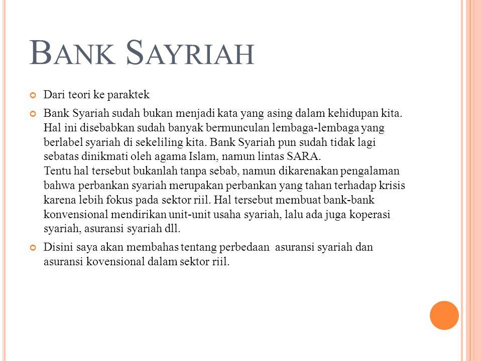 B ANK S AYRIAH Dari teori ke paraktek Bank Syariah sudah bukan menjadi kata yang asing dalam kehidupan kita.