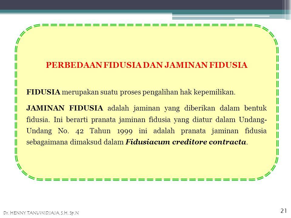 PERBEDAAN FIDUSIA DAN JAMINAN FIDUSIA FIDUSIA merupakan suatu proses pengalihan hak kepemilikan.