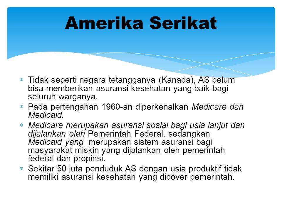  Tidak seperti negara tetangganya (Kanada), AS belum bisa memberikan asuransi kesehatan yang baik bagi seluruh warganya.