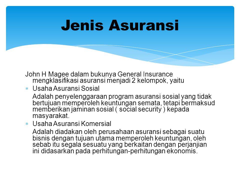 John H Magee dalam bukunya General Insurance mengklasifikasi asuransi menjadi 2 kelompok, yaitu  Usaha Asuransi Sosial Adalah penyelenggaraan program asuransi sosial yang tidak bertujuan memperoleh keuntungan semata, tetapi bermaksud memberikan jaminan sosial ( social security ) kepada masyarakat.