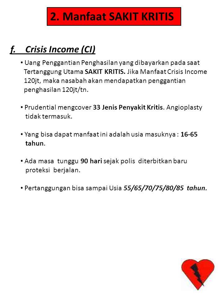 2. Manfaat SAKIT KRITIS f. Crisis Income (CI) • Uang Penggantian Penghasilan yang dibayarkan pada saat Tertanggung Utama SAKIT KRITIS. Jika Manfaat Cr