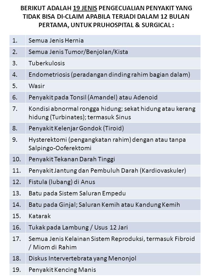 1.Semua Jenis Hernia 2.Semua Jenis Tumor/Benjolan/Kista 3.Tuberkulosis 4.Endometriosis (peradangan dinding rahim bagian dalam) 5.Wasir 6.Penyakit pada