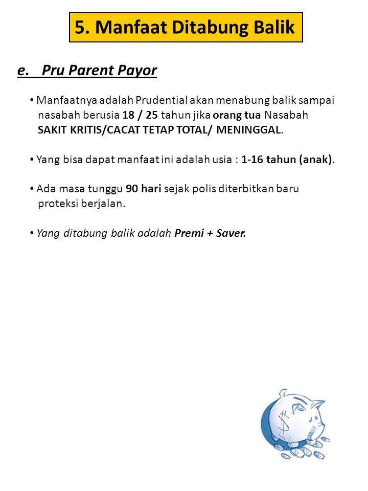 • Manfaatnya adalah Prudential akan menabung balik sampai nasabah berusia 18 / 25 tahun jika orang tua Nasabah SAKIT KRITIS/CACAT TETAP TOTAL/ MENINGG