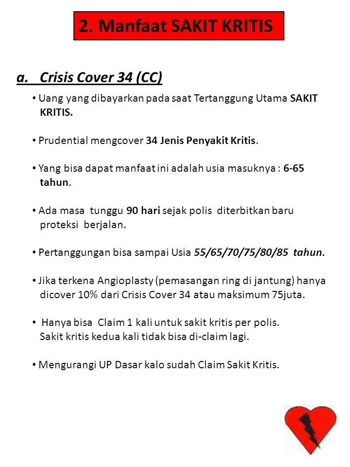 a. Crisis Cover 34 (CC) 2. Manfaat SAKIT KRITIS • Uang yang dibayarkan pada saat Tertanggung Utama SAKIT KRITIS. • Prudential mengcover 34 Jenis Penya