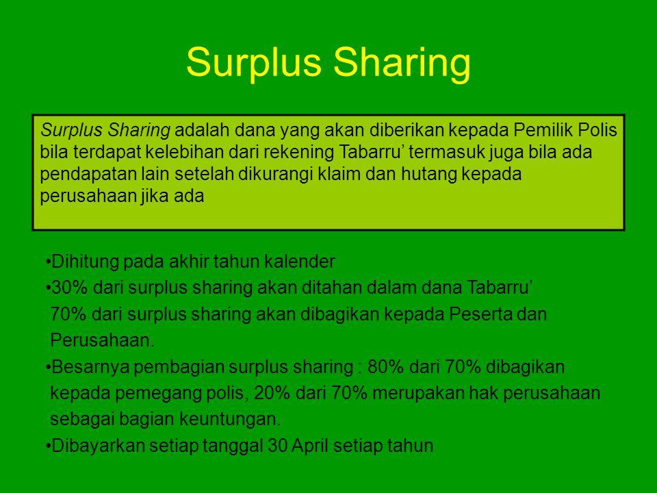 Surplus Sharing Surplus Sharing adalah dana yang akan diberikan kepada Pemilik Polis bila terdapat kelebihan dari rekening Tabarru' termasuk juga bila