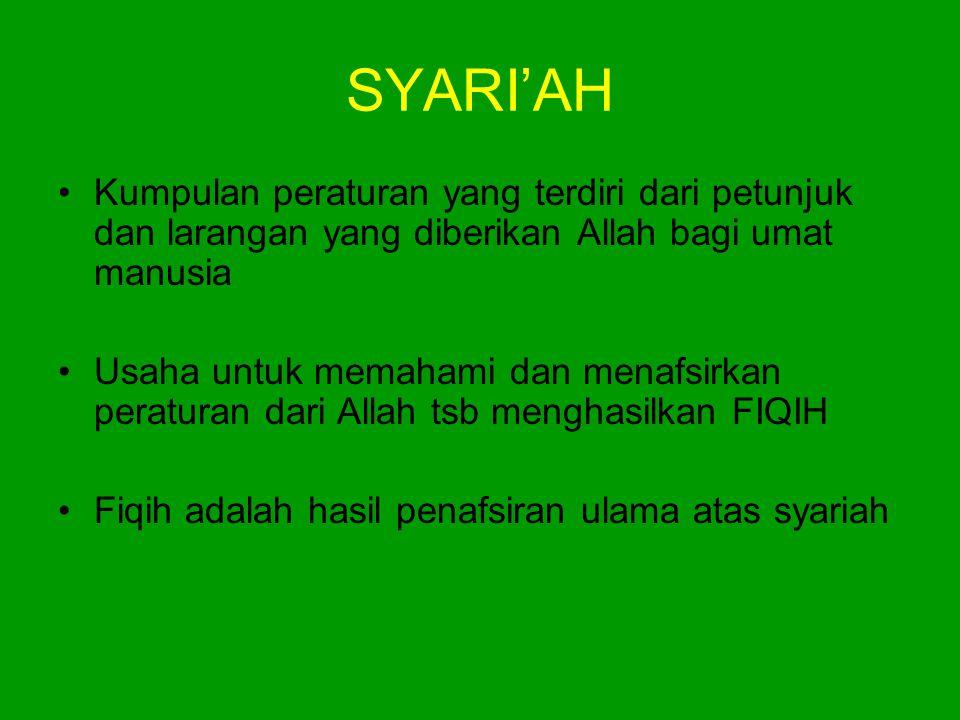 SYARI'AH •Kumpulan peraturan yang terdiri dari petunjuk dan larangan yang diberikan Allah bagi umat manusia •Usaha untuk memahami dan menafsirkan pera