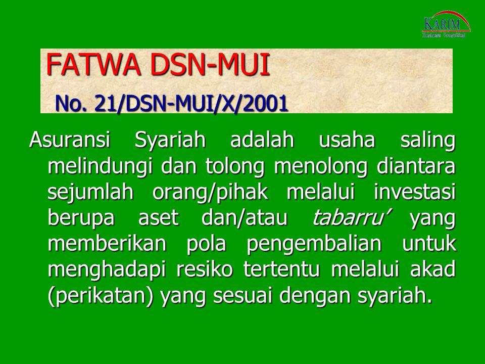 FATWA DSN-MUI No. 21/DSN-MUI/X/2001 Asuransi Syariah adalah usaha saling melindungi dan tolong menolong diantara sejumlah orang/pihak melalui investas