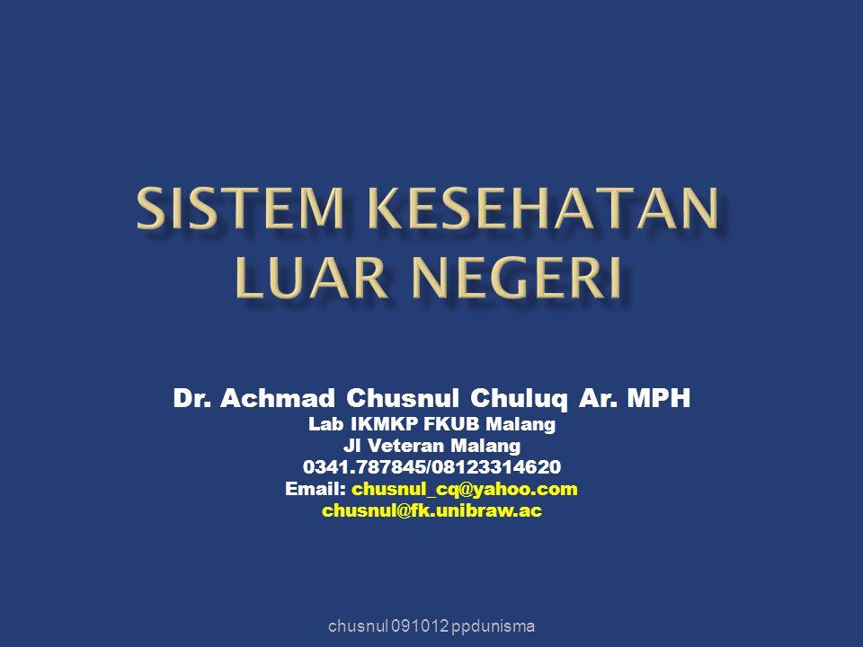 Dr. Achmad Chusnul Chuluq Ar. MPH Lab IKMKP FKUB Malang Jl Veteran Malang 0341.787845/08123314620 Email: chusnul_cq@yahoo.com chusnul@fk.unibraw.ac ch