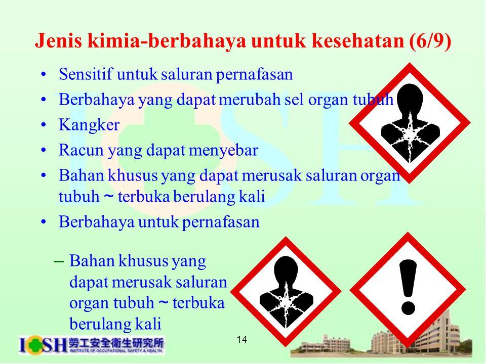 14 •Sensitif untuk saluran pernafasan •Berbahaya yang dapat merubah sel organ tubuh •Kangker •Racun yang dapat menyebar •Bahan khusus yang dapat merus