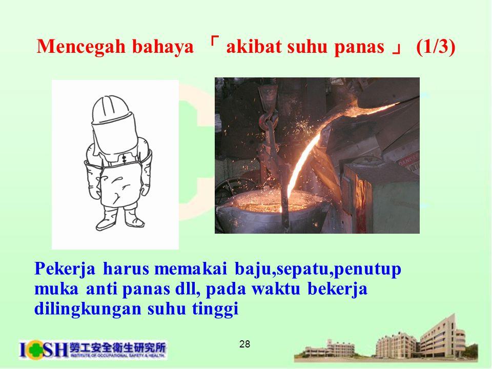 28 Mencegah bahaya 「 akibat suhu panas 」 (1/3) Pekerja harus memakai baju,sepatu,penutup muka anti panas dll, pada waktu bekerja dilingkungan suhu tin