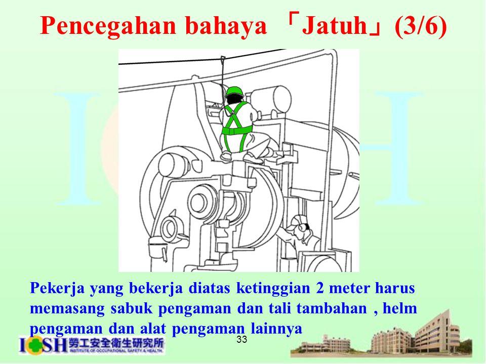 33 Pekerja yang bekerja diatas ketinggian 2 meter harus memasang sabuk pengaman dan tali tambahan, helm pengaman dan alat pengaman lainnya Pencegahan