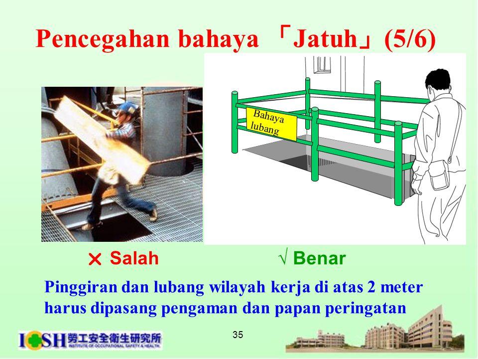 35 Pinggiran dan lubang wilayah kerja di atas 2 meter harus dipasang pengaman dan papan peringatan  Salah √ Benar Bahaya lubang Pencegahan bahaya 「 J