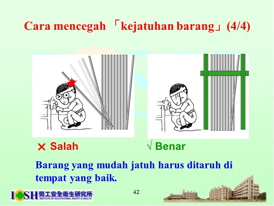 42 Cara mencegah 「 kejatuhan barang 」 (4/4) Barang yang mudah jatuh harus ditaruh di tempat yang baik.  Salah √ Benar