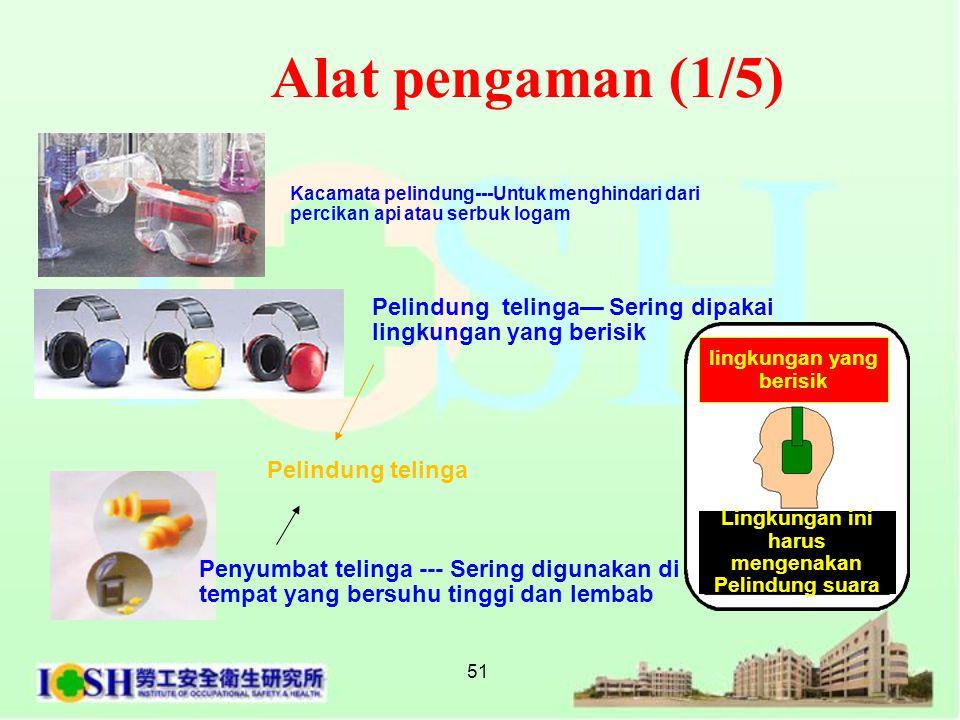 51 Kacamata pelindung---Untuk menghindari dari percikan api atau serbuk logam Alat pengaman (1/5) Pelindung telinga— Sering dipakai lingkungan yang b