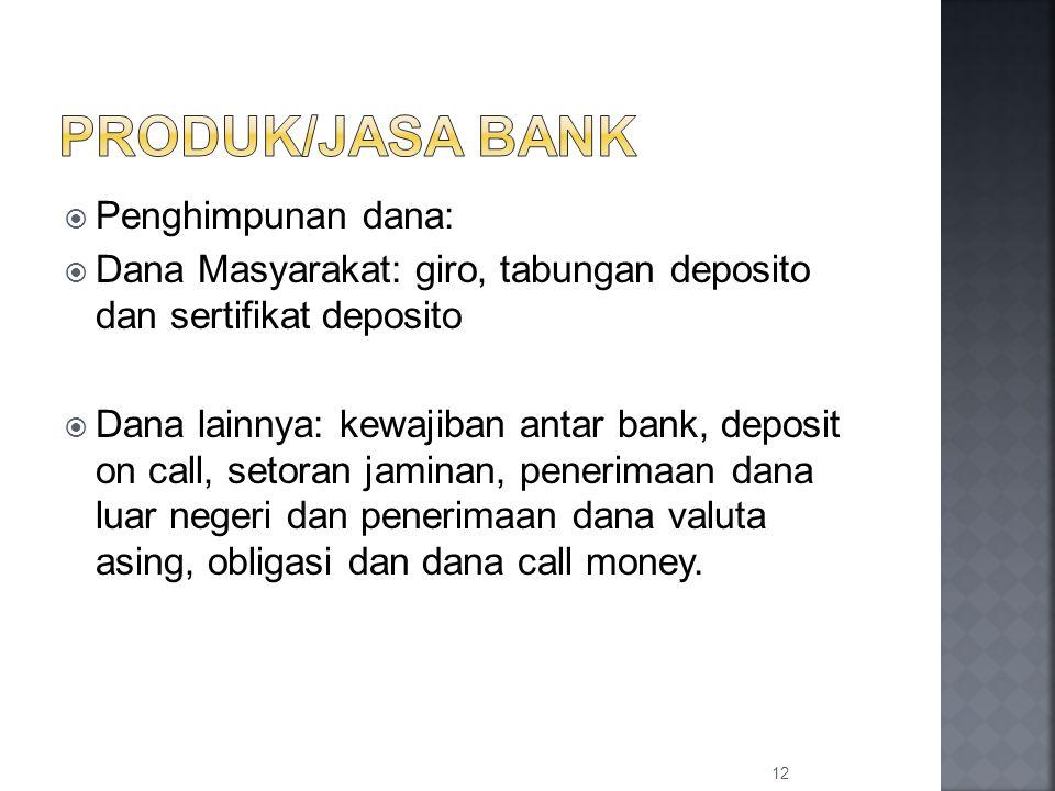  Penghimpunan dana:  Dana Masyarakat: giro, tabungan deposito dan sertifikat deposito  Dana lainnya: kewajiban antar bank, deposit on call, setoran