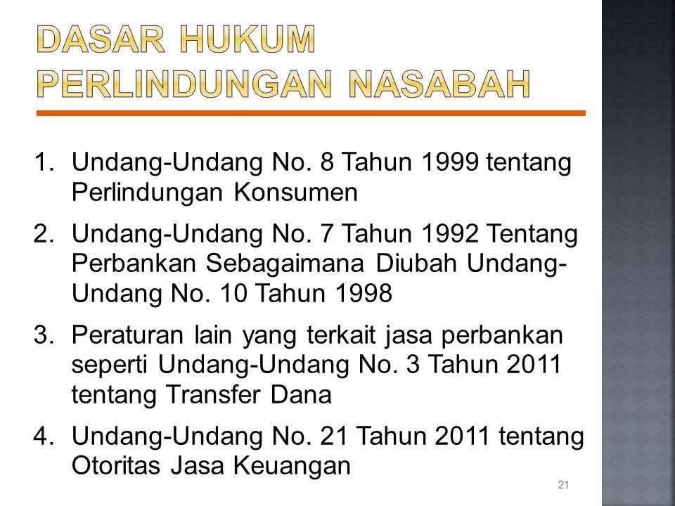 1.Undang-Undang No. 8 Tahun 1999 tentang Perlindungan Konsumen 2.Undang-Undang No. 7 Tahun 1992 Tentang Perbankan Sebagaimana Diubah Undang- Undang No