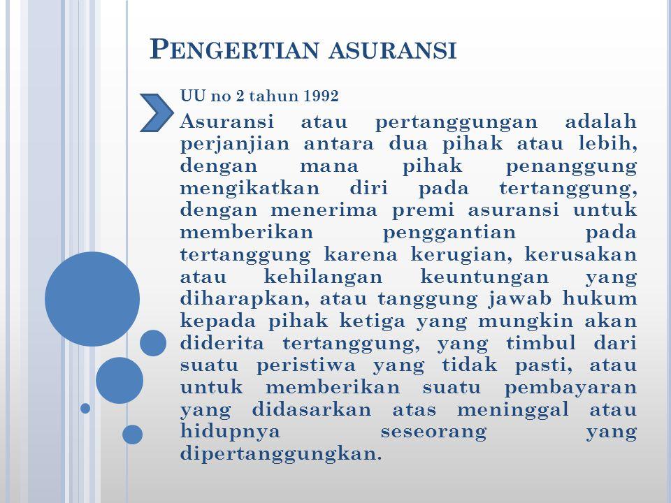 P ENGERTIAN ASURANSI UU no 2 tahun 1992 Asuransi atau pertanggungan adalah perjanjian antara dua pihak atau lebih, dengan mana pihak penanggung mengik