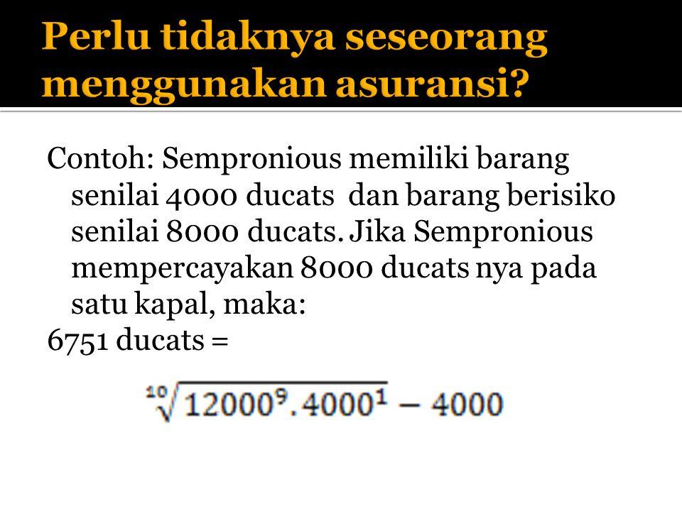 Contoh: Sempronious memiliki barang senilai 4000 ducats dan barang berisiko senilai 8000 ducats.