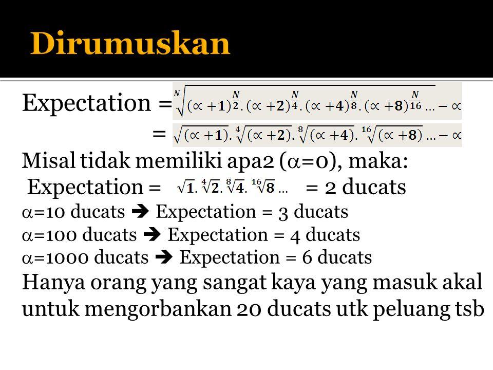 Expectation = = Misal tidak memiliki apa2 (  =0), maka: Expectation = = 2 ducats  =10 ducats  Expectation = 3 ducats  =100 ducats  Expectation = 4 ducats  =1000 ducats  Expectation = 6 ducats Hanya orang yang sangat kaya yang masuk akal untuk mengorbankan 20 ducats utk peluang tsb