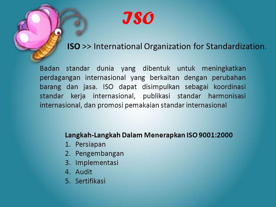 ISO ISO >> International Organization for Standardization. Langkah-Langkah Dalam Menerapkan ISO 9001:2000 1.Persiapan 2.Pengembangan 3.Implementasi 4.