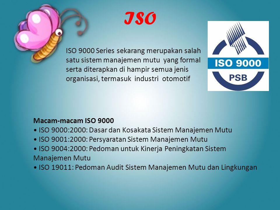 ISO ISO 9000 Series sekarang merupakan salah satu sistem manajemen mutu yang formal serta diterapkan di hampir semua jenis organisasi, termasuk indust