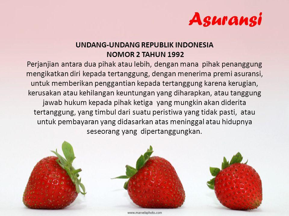 Asuransi UNDANG-UNDANG REPUBLIK INDONESIA NOMOR 2 TAHUN 1992 Perjanjian antara dua pihak atau lebih, dengan mana pihak penanggung mengikatkan diri kep