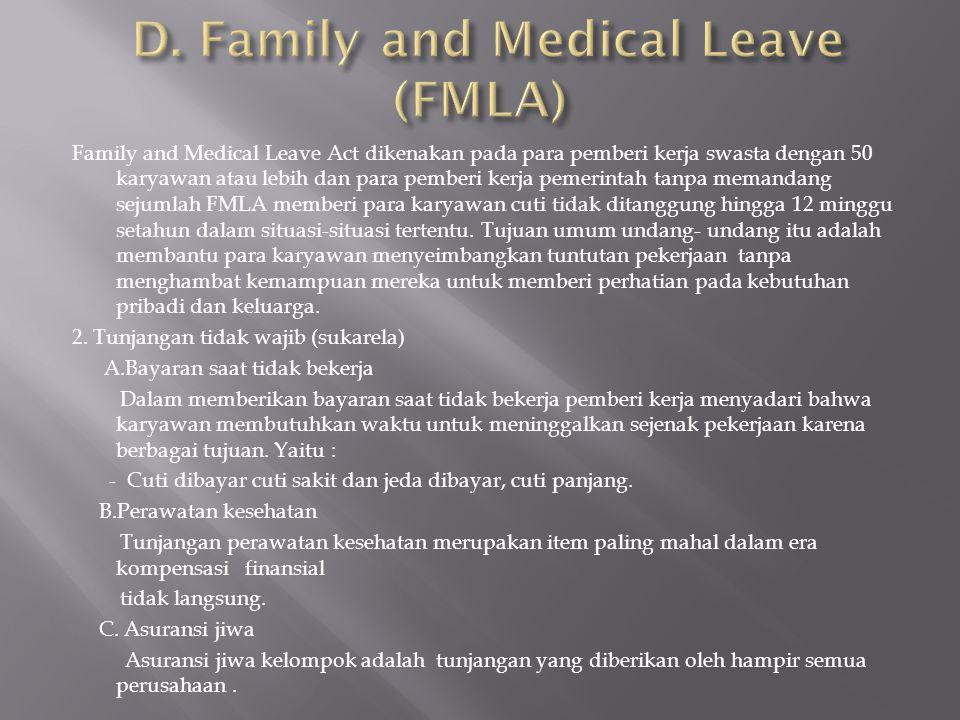 Family and Medical Leave Act dikenakan pada para pemberi kerja swasta dengan 50 karyawan atau lebih dan para pemberi kerja pemerintah tanpa memandang
