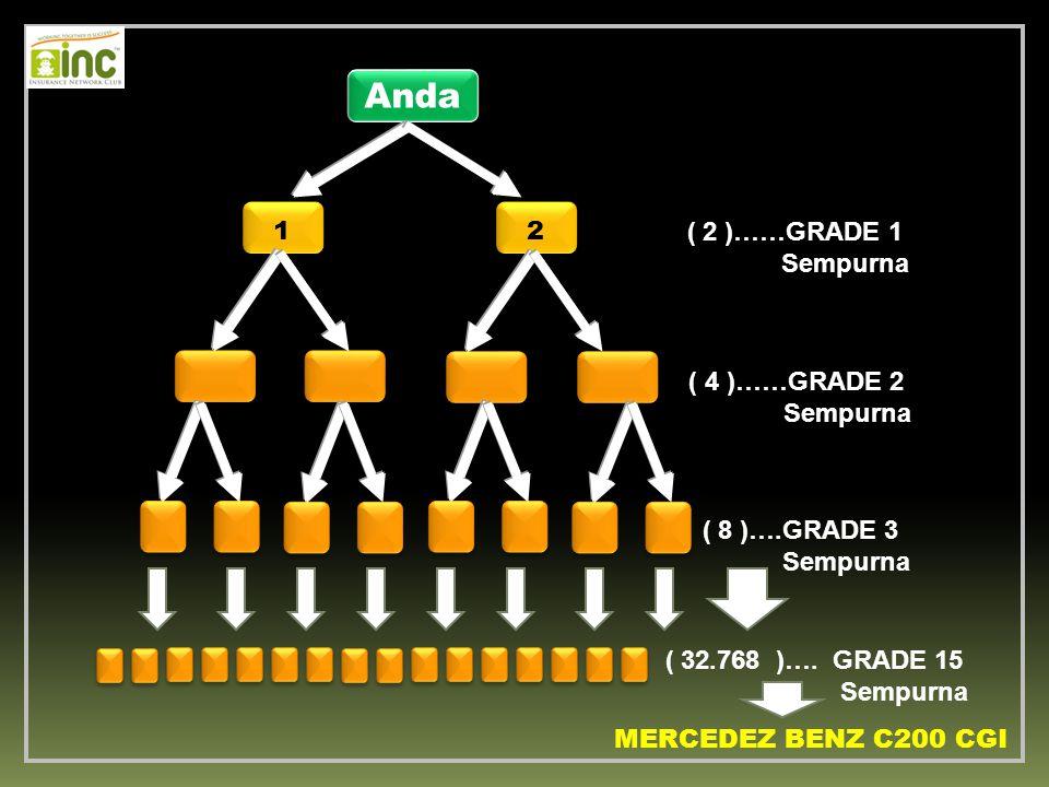 Anda ( 2 )……GRADE 1 Sempurna ( 4 )……GRADE 2 Sempurna ( 8 )….GRADE 3 Sempurna ( 32.768 )…. GRADE 15 Sempurna MERCEDEZ BENZ C200 CGI 12