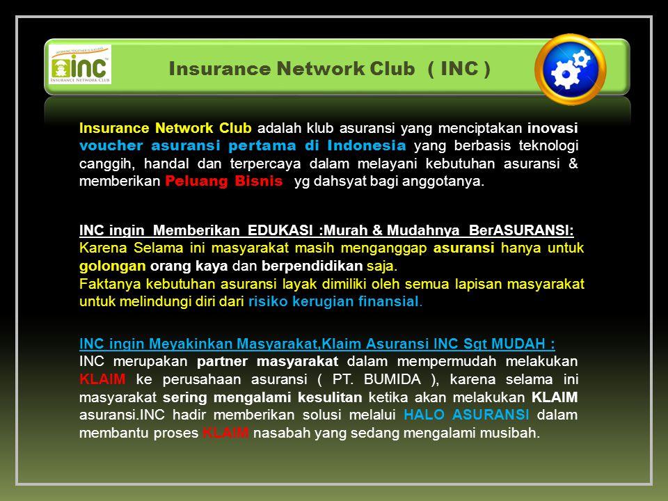 Insurance Network Club adalah klub asuransi yang menciptakan inovasi voucher asuransi pertama di Indonesia yang berbasis teknologi canggih, handal dan