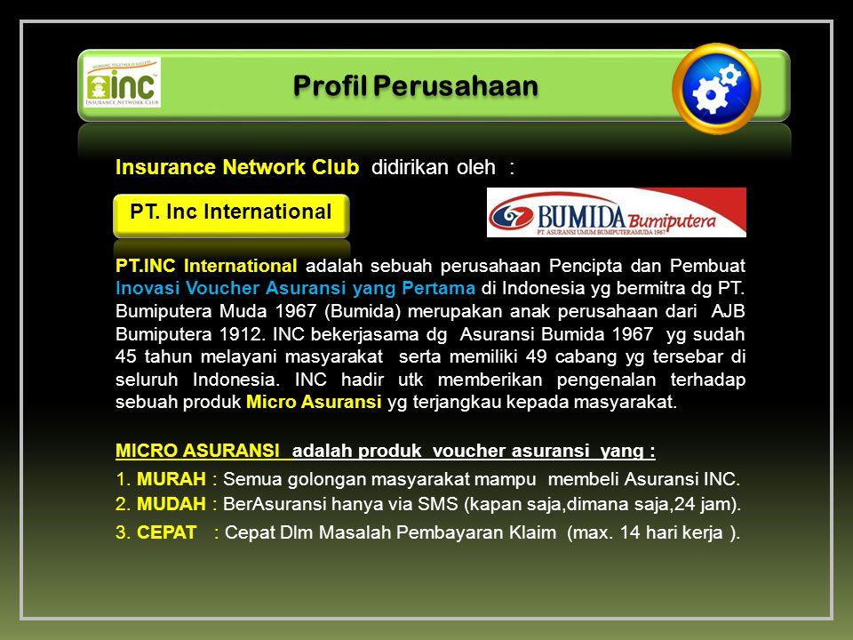 Insurance Network Club didirikan oleh : Profil Perusahaan PT. Inc International PT.INC International adalah sebuah perusahaan Pencipta dan Pembuat Ino