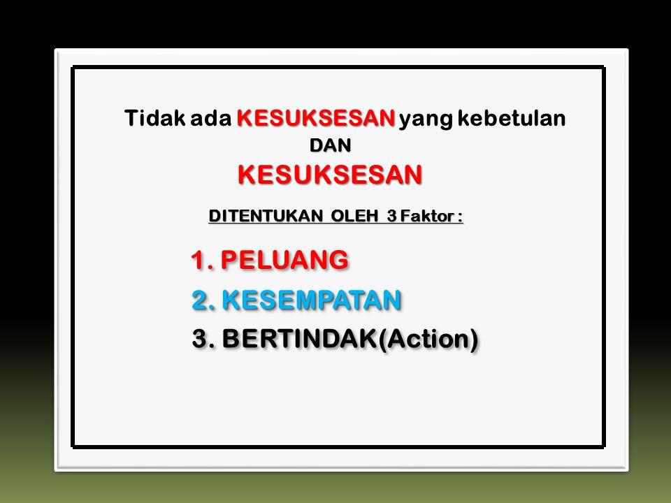 KESUKSESAN Tidak ada KESUKSESAN yang kebetulan KESUKSESAN 1. PELUANG 2. KESEMPATAN 3. BERTINDAK(Action) DITENTUKAN OLEH 3 Faktor : DAN