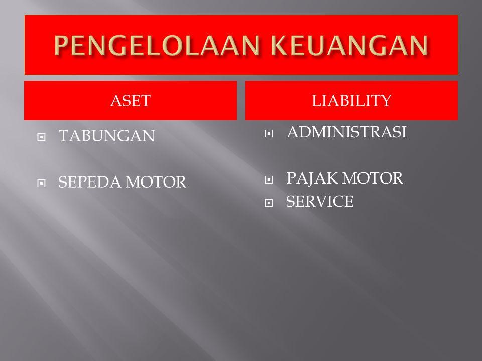 ASETLIABILITY  TABUNGAN  SEPEDA MOTOR  ADMINISTRASI  PAJAK MOTOR  SERVICE