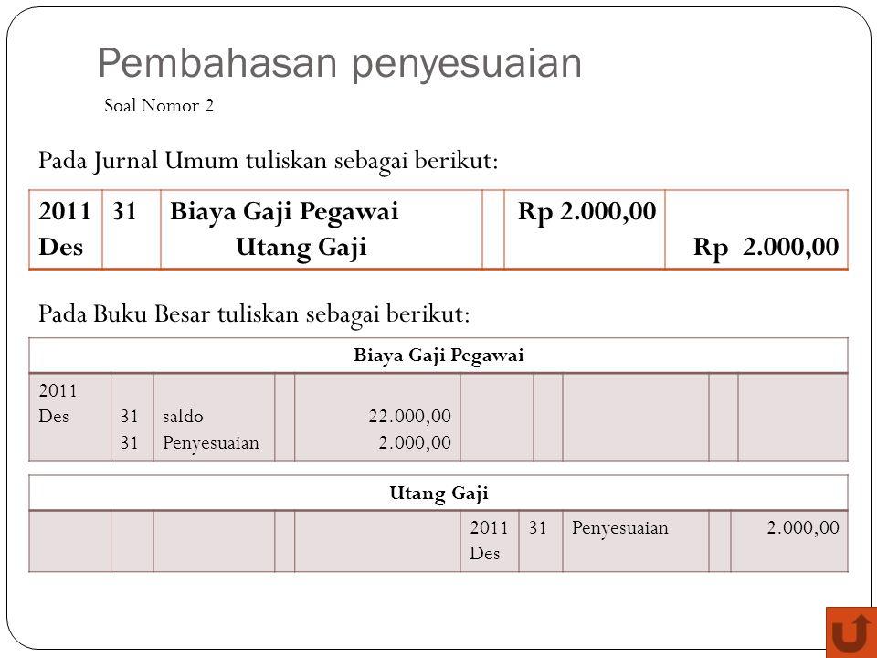 Pembahasan penyesuaian 2011 Des 31Biaya Gaji Pegawai Utang Gaji Rp 2.000,00 Soal Nomor 2 Pada Jurnal Umum tuliskan sebagai berikut: Pada Buku Besar tu