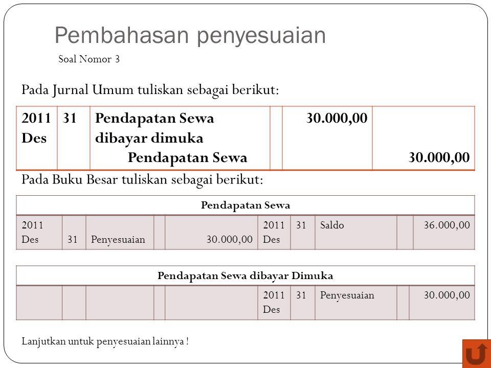Pembahasan penyesuaian 2011 Des 31Pendapatan Sewa dibayar dimuka Pendapatan Sewa 30.000,00 Soal Nomor 3 Pada Jurnal Umum tuliskan sebagai berikut: Pad