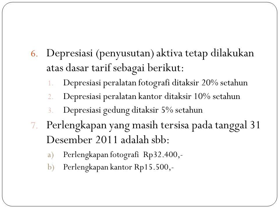 6. Depresiasi (penyusutan) aktiva tetap dilakukan atas dasar tarif sebagai berikut: 1. Depresiasi peralatan fotografi ditaksir 20% setahun 2. Depresia