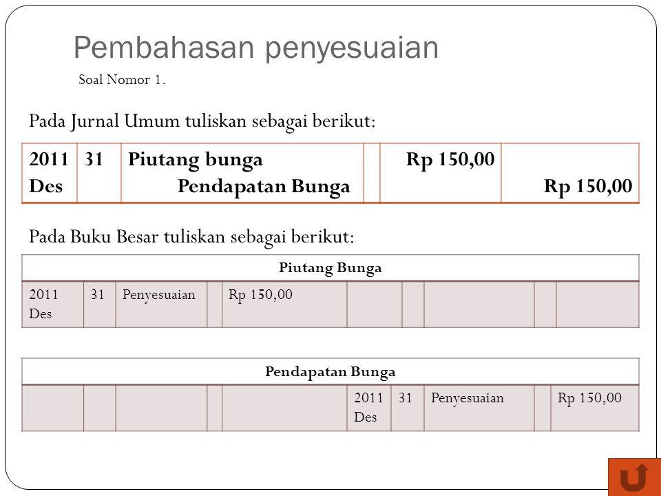 Pembahasan penyesuaian 2011 Des 31Piutang bunga Pendapatan Bunga Rp 150,00 Soal Nomor 1. Pada Jurnal Umum tuliskan sebagai berikut: Pada Buku Besar tu