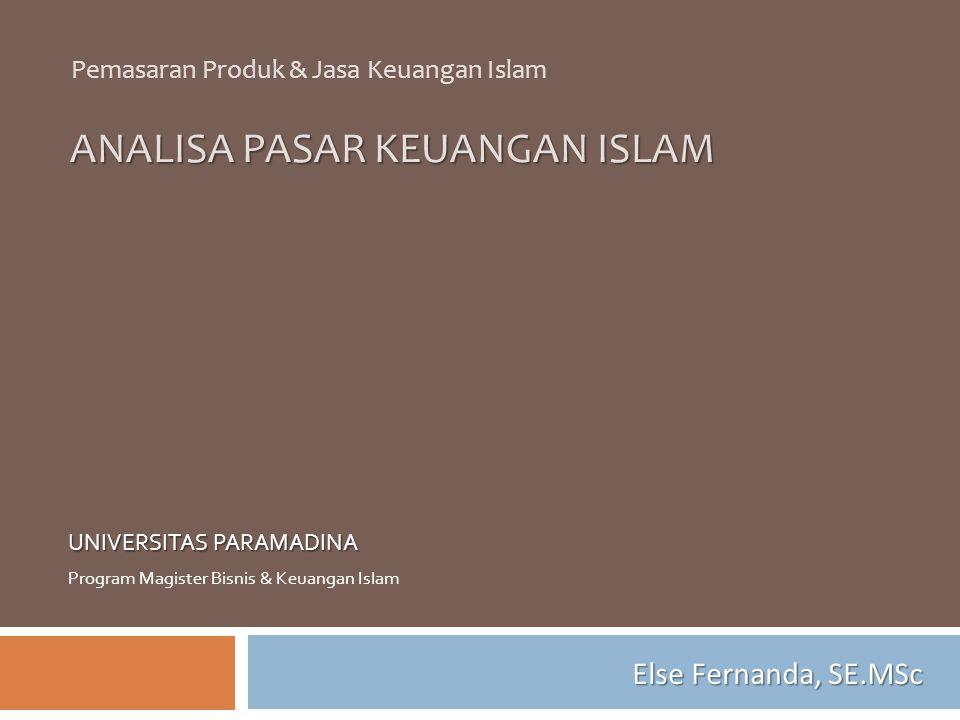 ANALISA PASAR KEUANGAN ISLAM UNIVERSITAS PARAMADINA Program Magister Bisnis & Keuangan Islam Pemasaran Produk & Jasa Keuangan Islam Else Fernanda, SE.