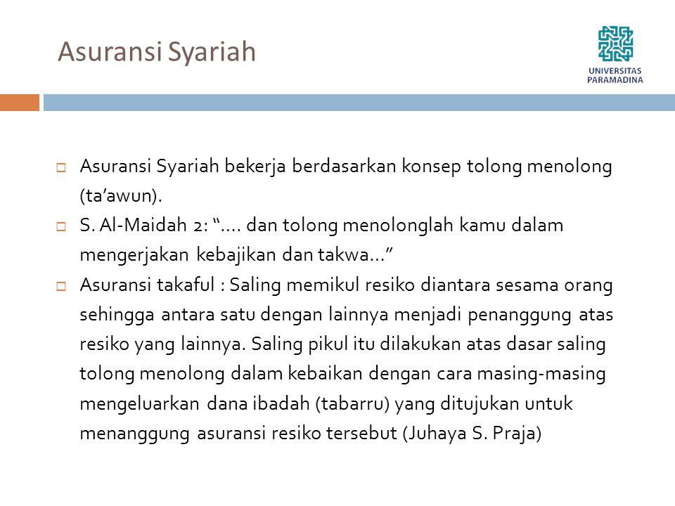 """Asuransi Syariah  Asuransi Syariah bekerja berdasarkan konsep tolong menolong (ta'awun).  S. Al-Maidah 2: """"…. dan tolong menolonglah kamu dalam meng"""