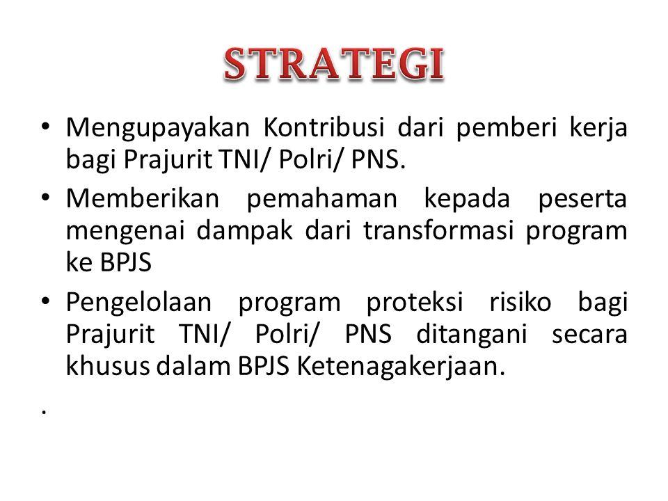 • Mengupayakan Kontribusi dari pemberi kerja bagi Prajurit TNI/ Polri/ PNS. • Memberikan pemahaman kepada peserta mengenai dampak dari transformasi pr