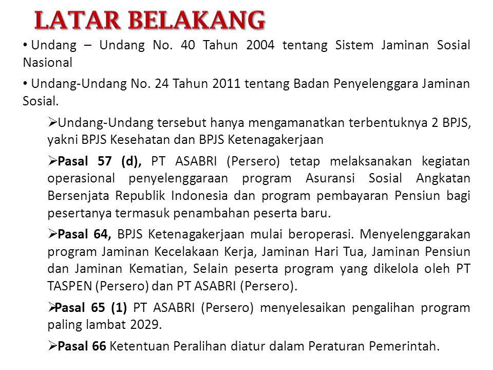• Undang – Undang No. 40 Tahun 2004 tentang Sistem Jaminan Sosial Nasional • Undang-Undang No. 24 Tahun 2011 tentang Badan Penyelenggara Jaminan Sosia